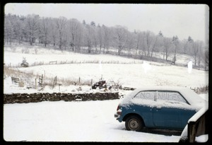 Thumbnail of Snow-covered car with 'No Nukes' written on windows, Montague Farm Commune