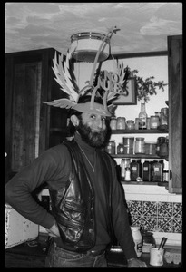 Thumbnail of Unidentified man wearing a winged No Nukes headdress, Montague Farm commune