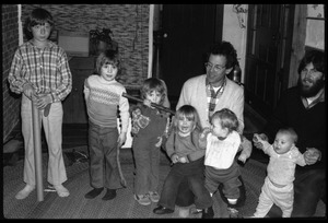 Thumbnail of Tony Mathews and Dan Keller (adults, right to left), with children, Montague Farm commune