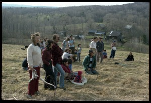 Thumbnail of Gathering in the fields above the commune house, awaiting May Day celebrations, Montague Farm commune