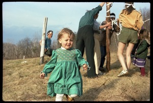 Thumbnail of Phoebe Mathews running around at the May Day celebrations, Montague Farm commune
