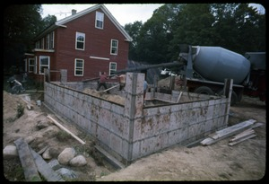 Thumbnail of Pouring the foundation for an extension to the house, Montague Farm Commune