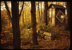 Thumbnail of Outhouse in high fall color, Montague Farm Commune