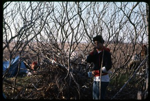 Thumbnail of Brushing teeth: Cate Woolner: Occupation of the Seabrook Nuclear Power Plant Occupier standing in the brush, brushing her teeth