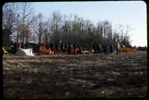 Thumbnail of Camp day 2, waiting: Occupation of the Seabrook Nuclear Power Plant Row of tents and occupiers awaiting the action
