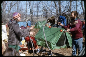 Thumbnail of Juggling: Nancy Hazard and Dave Gott: Occupation of the Seabrook Nuclear Power Plant Occupiers juggling at campsite with tents in rear