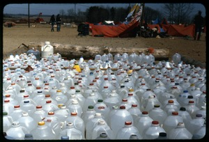 Thumbnail of Extra water: Occupation of the Seabrook Nuclear Power Plant Array of milk jugs filled with water for occupiers