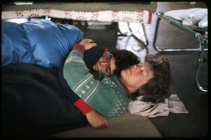 Thumbnail of  Cate Woolner and Nancy Hazard nap: Occupation of the Seabrook Nuclear Power Plant Occupiers sleeping on the armory floor after their arrest