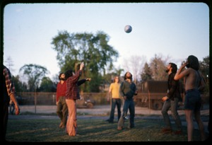 Thumbnail of  Playing ball in the yard: Occupation of the Seabrook Nuclear Power Plant Occupiers playing with a ball outside the armory