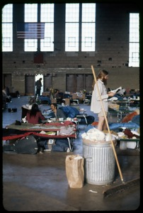 Thumbnail of  Cleaning up last day: Occupation of the Seabrook Nuclear Power Plant Occupiers cleaning up the armory floor
