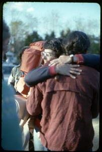 Thumbnail of  Saying goodbye, Cate and Alan: Occupation of the Seabrook Nuclear Power Plant Cate Woolner and Alan Berman hugging while saying goodbye after their release