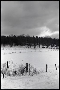Thumbnail of Cloudy skies and snowy fields, Montague Farm commune