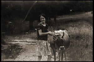 Thumbnail of Susan Mareneck leading the cow outside the barn, Montague Farm commune