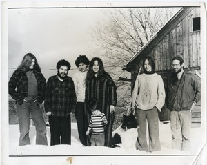 Thumbnail of Group of communards outside the barn at Packer Corners (r. to l.): unidentified woman, Richard             Wizansky, Peter Gould, Ellen Gould (son Eli in front), Joan Marr, Marty Jezer
