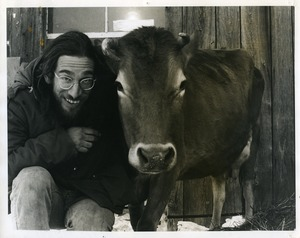 Thumbnail of Marty Jezer (left) with Jersey cow at Packer Corners commune