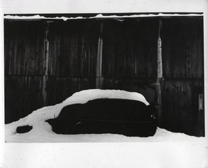 Thumbnail of Car and barn under heavy snow, Montague Farm Commune