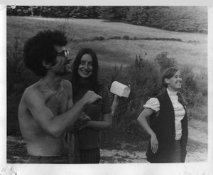 Thumbnail of Marshall Bloom, Verandah Porche, and Ellen Snyder, standing near the mailbox, Montague Farm Commune