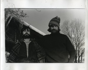 Thumbnail of David Jolly and John Carrol posed in front of the barn, Packer Corners             Commune