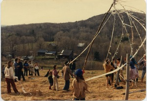Thumbnail of May day celebrations, with maypole, Montague Farm Commune