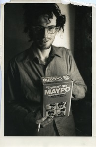 Thumbnail of John Wilton with a box of Maypo, Montague Farm Commune
