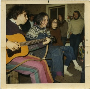 Thumbnail of Tom Fels (with guitar), Verandah Porche, Anna (by window), and Michael             Curry, Montague Farm Commune