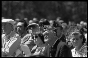 Thumbnail of American Legionnaire in the crowd at the dedication ceremonies for the Rhode Island Vietnam             Veterans Memorial