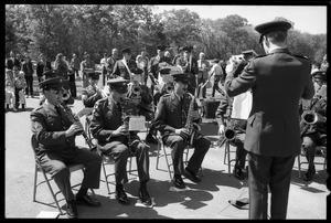 Thumbnail of Military band plays at the dedication ceremonies for the Rhode Island Vietnam Veterans Memorial