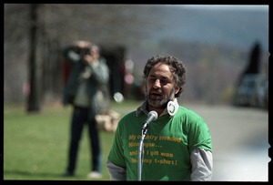 Thumbnail of Abbie Hoffman speaking to supporters after his acquittal in the Northampton CIA protest trial Hoffman is wearing a t-shirt reading 'My country invaded Nicaragua... and all I         got was this lousy t-shirt'