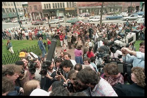 Thumbnail of Scene outside the Hampshire County courthouse following acquittal in the CIA             protest trial: news media crowding the courthouse steps