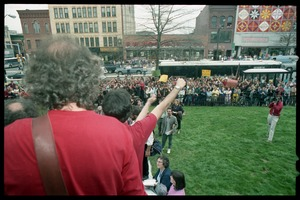 Thumbnail of Defendants filing down the steps of the Hampshire County courthouse following their acquittal in the CIA             protest trial, with crowd of supporters on the sidewalk