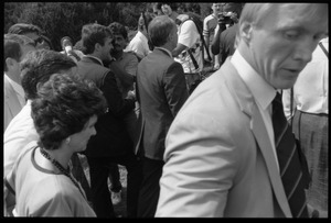 Thumbnail of Kitty Dukakis (front) and Mike Dukakis (behind her) walking to the speakers'             platform at the 25th Anniversary of the March on Washington