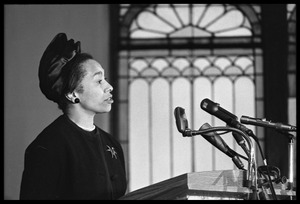 Thumbnail of Jean Fairfax speaking at the Youth, Non-Violence, and Social Change             conference, Howard University Close-up view of Baker at the podium