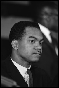 Thumbnail of Walter E. Fauntroy at the Youth, Non-Violence, and Social Change conference, Howard             University Portrait in three-quarter profile