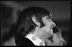 Thumbnail of Ringo Starr at a Beatles press conference: close-up in profile
