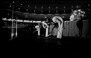 Thumbnail of Beatles bowing to the crowd during their concert at the Washington Coliseum Paul McCartney, George Harrison, John Lennon, and Ringo Starr (l. to r.)