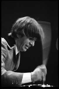 Thumbnail of Ringo Starr on drums, in concert with the Beatles, Washington Coliseum