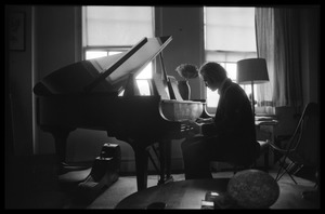 Thumbnail of Stephen Stills playing piano  in Judy Collins' New York apartment