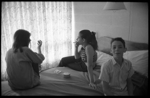 Thumbnail of Unidentified children smoking in a hotel room, Newport Folk Festival