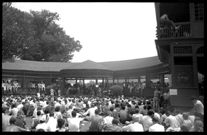 Thumbnail of Audience gathered at Porch #2 to hear Bob Dylan , Newport Folk Festival