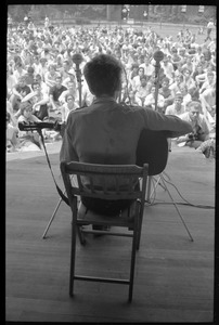 Thumbnail of Bob Dylan performing on Porch #1, Newport Folk Festival View from rear stage looking toward the audience
