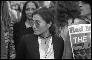 Thumbnail of Yoko Ono at a demonstration against the prosecution of Oz Magazine editors on charges of             obscenity (John Lennon holding up a copy of Red Mole partially obscured at far right)