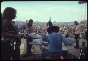 Thumbnail of Jefferson Airplane performing at the Woodstock Festival, view from rear stage