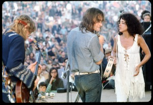Thumbnail of Jefferson Airplane performing at the Woodstock Festival From left: Jack Casady (bass), Marty Balin, Grace Slick