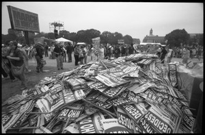 Thumbnail of ' Who decides': huge pile of signs for NARAL: 2004 March for Women's Lives