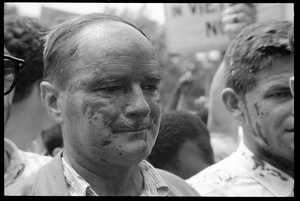 Thumbnail of David Dellinger (left) and Staughton Lynd after being splashed with red paint by             counter-protesters during the Assembly of Unrepresented People anti-war march