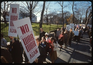 Thumbnail of Antiwar protesters march past the white house with signs reading 'No more             war, war never again': Washington Vietnam March for Peace