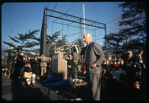 Thumbnail of Norman Thomas addresses anti-Vietnam war protesters, Washington Monument in the             background: Washington Vietnam March for Peace