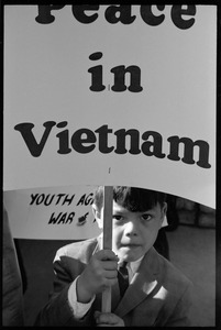 Thumbnail of Child holding a sign 'Peace in Vietnam': Washington Vietnam March for Peace