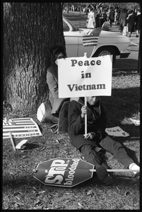 Thumbnail of Young African American antiwar protester holding a sign reading 'Peace in Vietnam': Washington Vietnam March for Peace