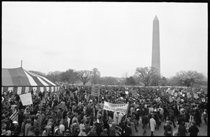 Thumbnail of Giant tent pitched on the National Mall with Committee of Returned Volunteers             (CRV) and other anti-war protesters milling about, the Washington Monument in the             background: Counter-inaugural demonstrations, 1969